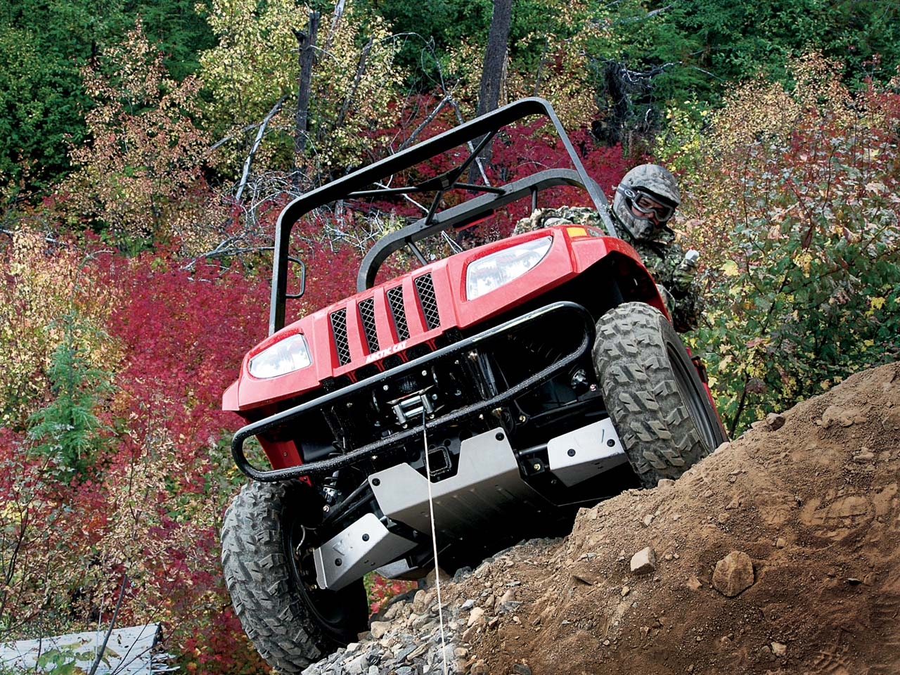 2010 Arctic Cat Prowler Red Front Using Winch