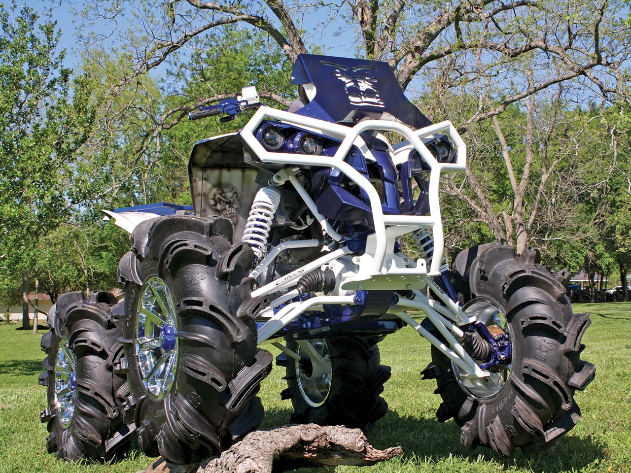 2012.can am.renegade800 custom.blue_.front_.parked.on grass 2012 custom can am renegade build by ben darbone atv illustrated  at gsmx.co