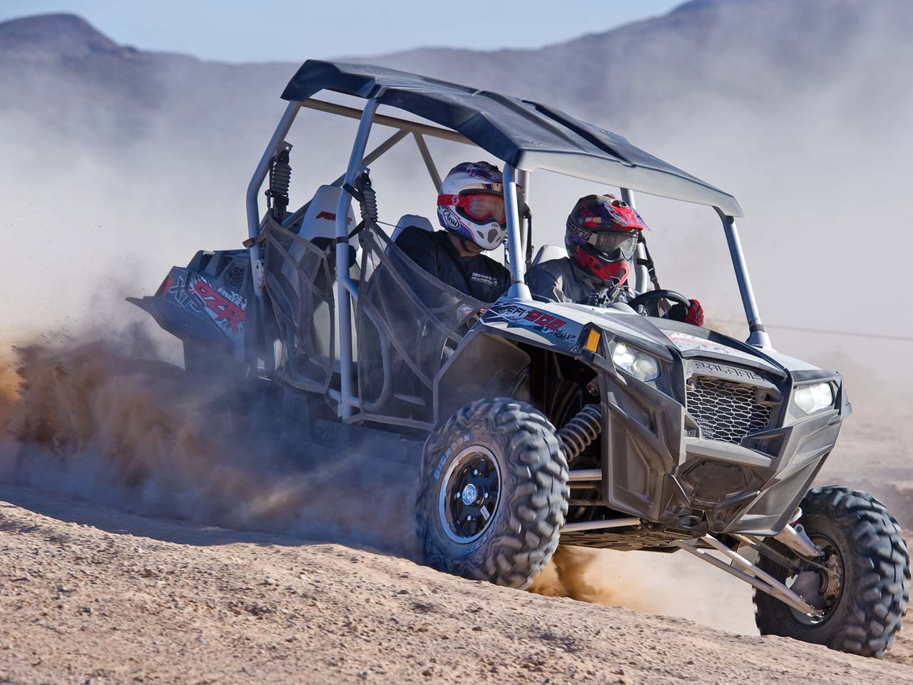 2012.polaris.rzr4-900.silver.front-right.riding. & First Ride - The Polaris RZR XP-4 900 | ATV Illustrated