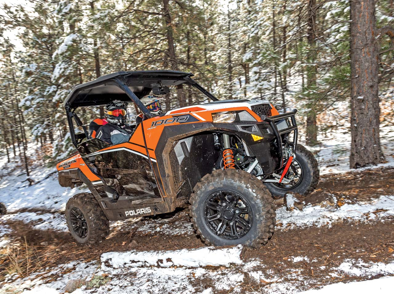 2016 Polaris General1000eps Orange Right_ Riding On Path