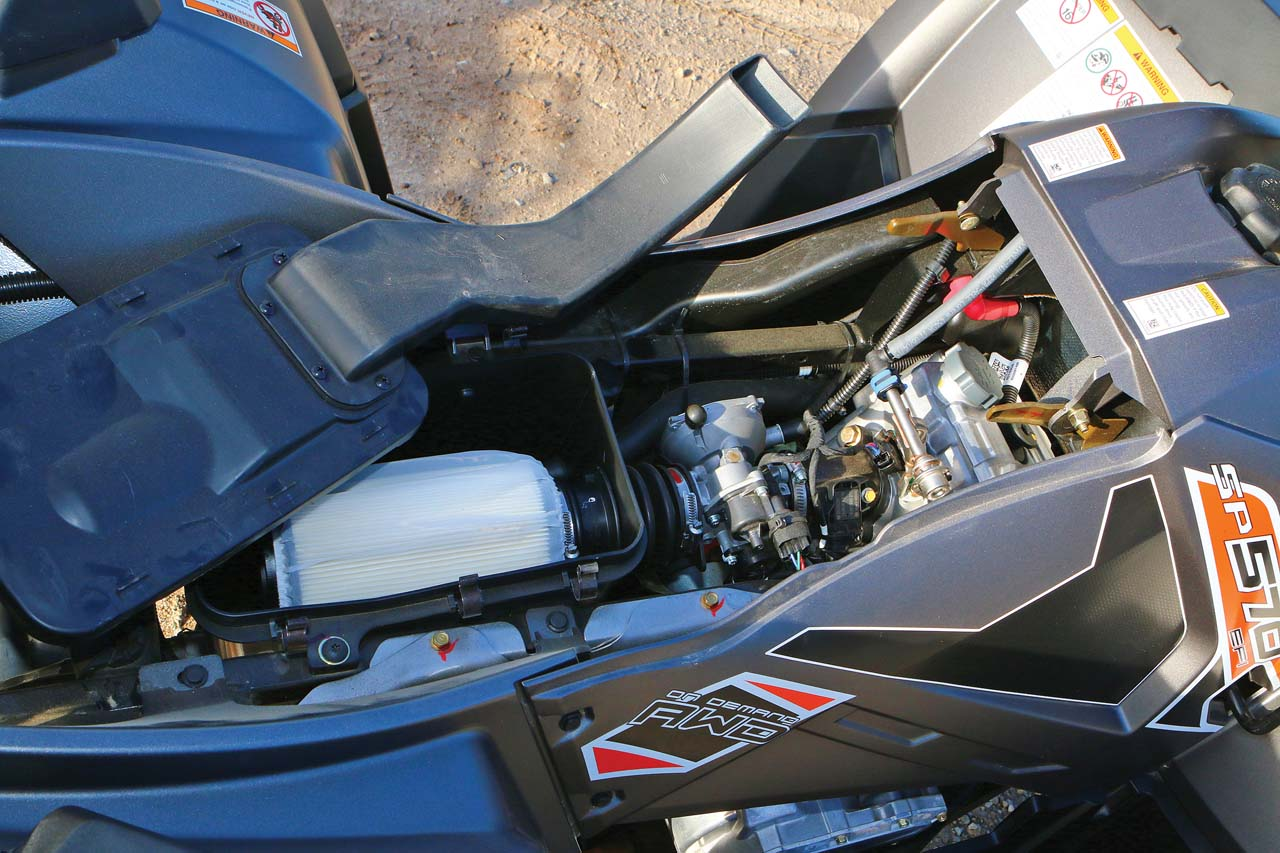 2016 polaris sportsman 570 sp review atv illustrated under the seat is the airbox and we like how polaris made the filter easy to remove and service just ahead is the efi throttle body publicscrutiny Images