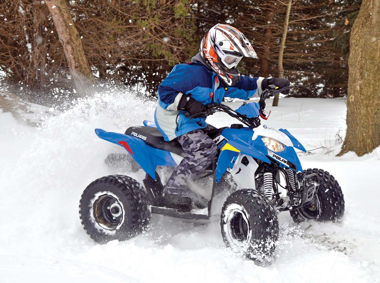 2017 polaris outlaw110 front-right blue_ riding in-