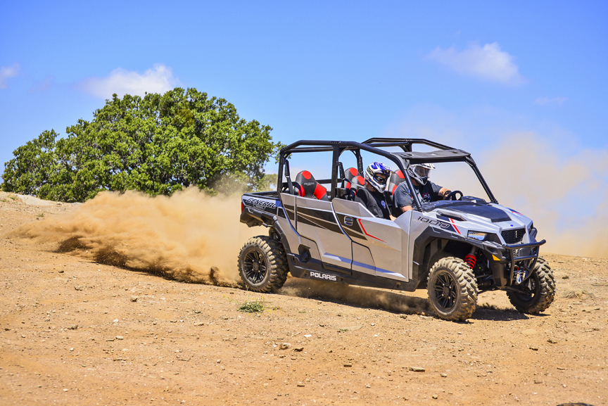 TEST RIDE The POLARIS GENERAL-4 1000 EPS A LITTLE WORK, A LOT OF PLAY  By Allen – AK – Knowles.  Photos by F. Stop Fitzgerald  In the automotive world the Polaris General-4 1000 EPS would be called a Crossover vehicle.  Creating the General two and four s
