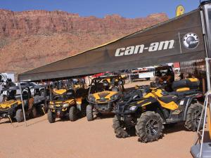 2012.location.moab-utah.arctic-cat-rally-on-the-rocks-event.can-am.line-up.parked.on-dirt.jpg