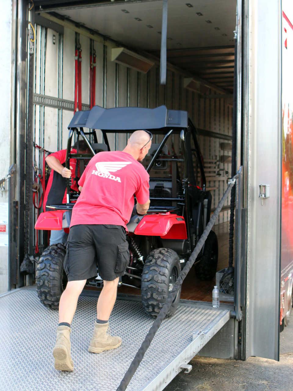 2017 Honda Pioneer500 Red Rear Unloading From Truck