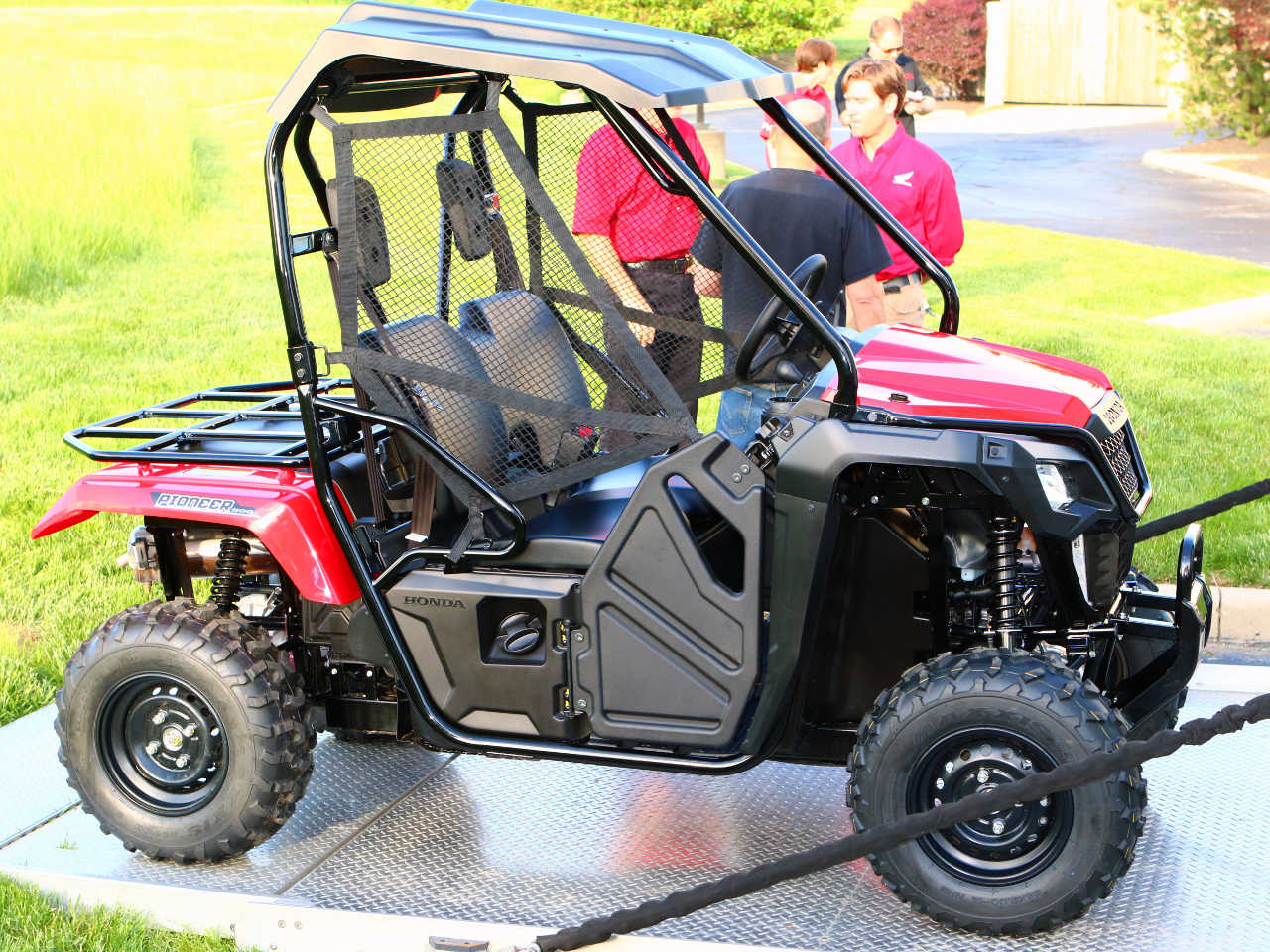 2017 Honda Pioneer500 Red Right Parked Outside Jpg